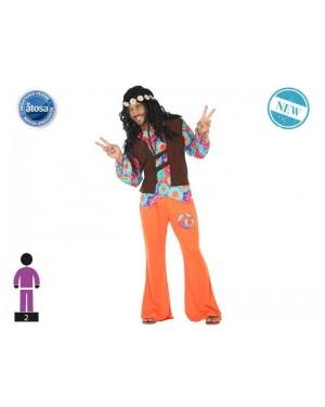 ATOSA 56488 costume hippie t-3 arancio c/giacca