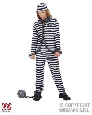 Costume Carcerato 128Cm 5/7 Anni Bianco/Nero