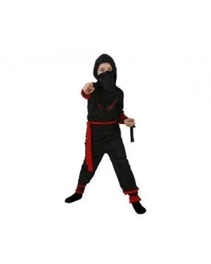 Costume Guerriero Ninja Rosso Tg 2 5/6 Con Access