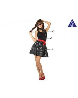 Costume Anni 50 Pois Nero Donna T-2 M/L
