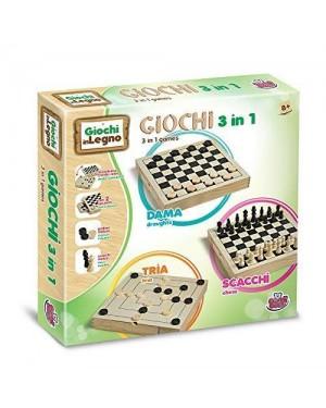 GRANDI GIOCHI GG95001 dama scacchi in legno 30x30