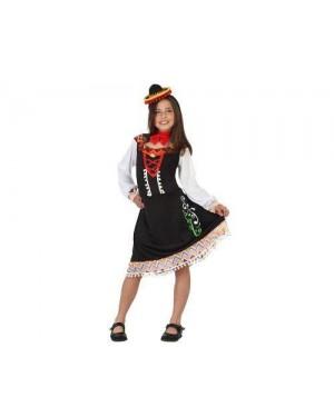 Costume Mariachi Messicana, Bambina T4 10-12 Anni