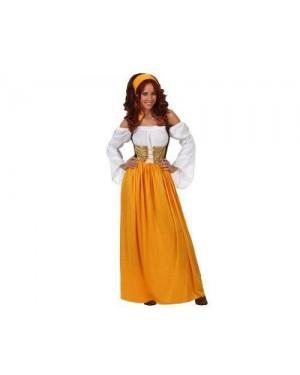 Costume Serva Medioevale Giallo Adulto Xl T4