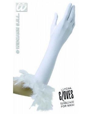 widmann 1447u guanti bianchi in lycra con piume cm 37 unisex