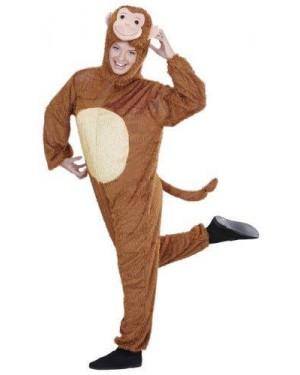Costume Scimmia Peluche M/L Cappuccio Maschera