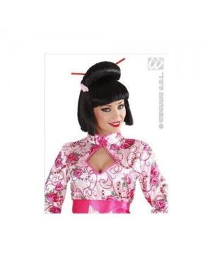 WIDMANN J0578 parrucca nera geisha con fiore e bacchette