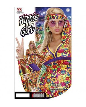 Costume Hippie Girl L In Vell.Camic,Pant,Fasc.Tes