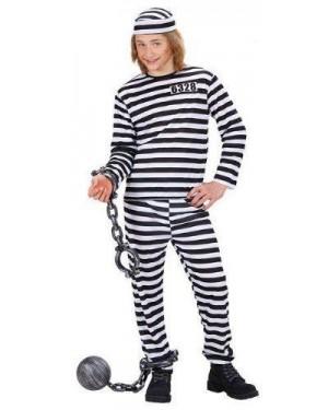 Costume Carcerato 158Cm 11/13Anni Bianco/Nero