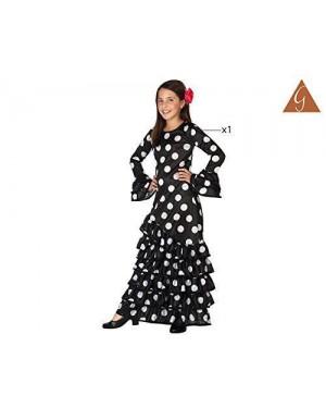 Costume Flamenca Nero Spagnola T-4 10/12