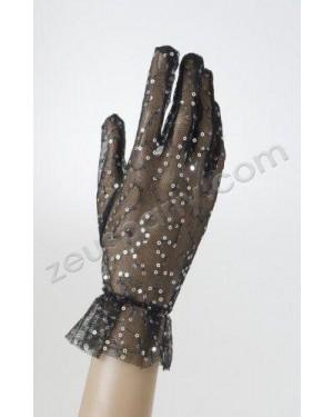 widmann 1468s guanti neri a rete con paillettes 25 cm
