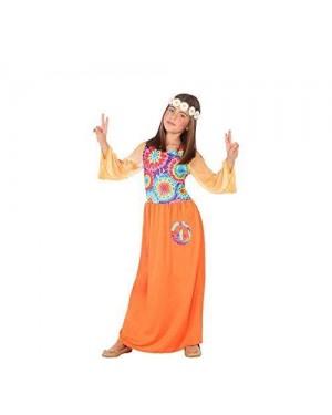 ATOSA 56851 costume hippie 7-9 bambina arancione