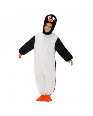 Costume Pinguino 5/8 Cm 134 In Peluche Con Capp