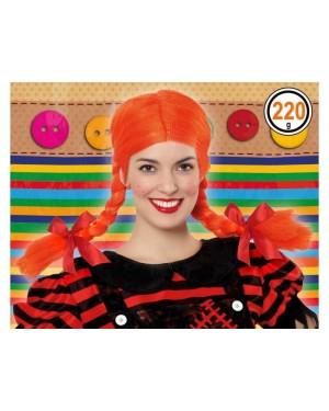 ATOSA 39895 atosa parrucca trecce arancione pippi