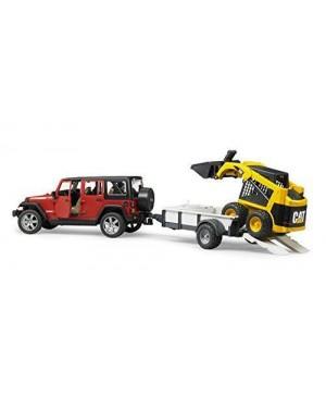 BRUDER 02925 bruder jeep wrangler c/rimorchio +mini cat