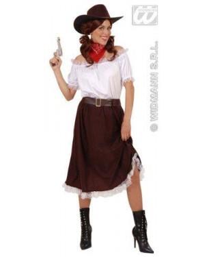Costume Cowgirl M Camicia Gonna Cintura Cappello