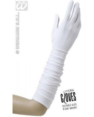 widmann 1444b guanti bianchi plissettati in lycra cm 37