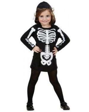 WIDMANN 2848K costume scheletro glamour vestito con cappuccio 3/