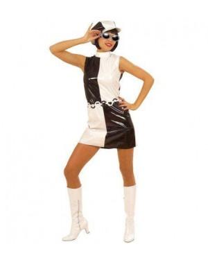 Costume Donna Anni 60 S Bianco Nero