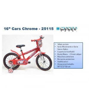 MONDO 25115 bicicletta 16 cars chrome 5-8 anni