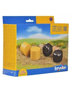 bruder 02345 accessories: 4 round hay bales (2 pcs. sorted blac