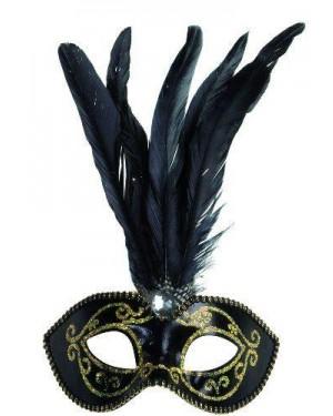 widmann 6432t maschera nera con glitter oro, gemma e piume