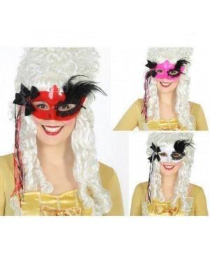 ATOSA 16473 maschera nera pvc c/piuma ass. veneziani