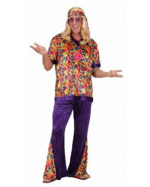 Costume Hippie Dude L In Vell.Camic,Pant,Fasc.Tes