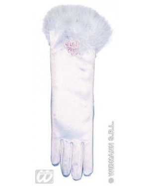 widmann 3433g guanti lunghi bimba con piume