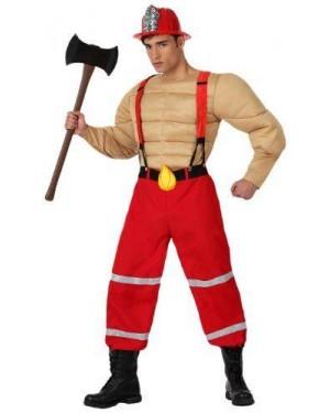Costume Pompiere Muscoloso, Adulto T. 2