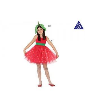 Costume Fragola Bimba T1 3-4 Anni