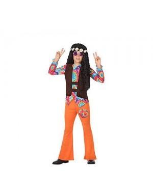 ATOSA 56855 costume hippie 7-9 bambino arancione