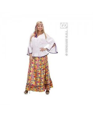 Costume Hippie Woman M In Vell.Camic,Pant,Fasc.Tes