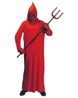 Costume Diavolo Con Tunica Con Cappuccio E Mascher