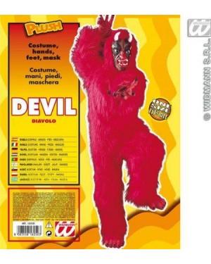 Costume Diavolo Mascotte Rosso In Peluche Con Mani