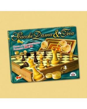 ruggero sala  114 scacchi dama tria cm.35x35 con pedine legno