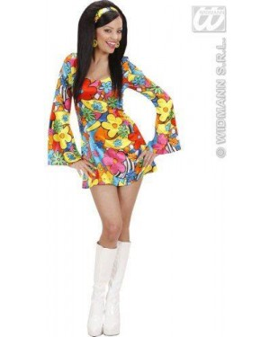 WIDMANN 73951 costume flower power girl s vestito, fascia per
